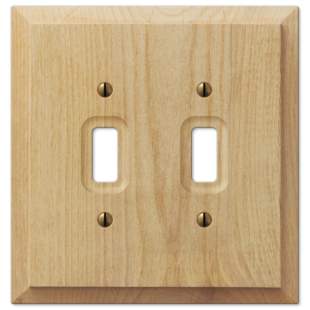 Baker Unfinished Alder Wood - 2 Toggle Wallplate - Wallplate Warehouse