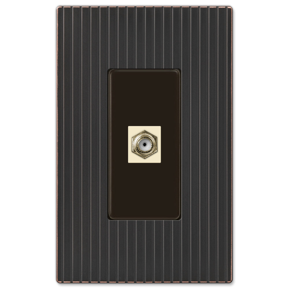 Mies Screwless Aged Bronze Cast - 1 Cable Jack Wallplate - Wallplate Warehouse