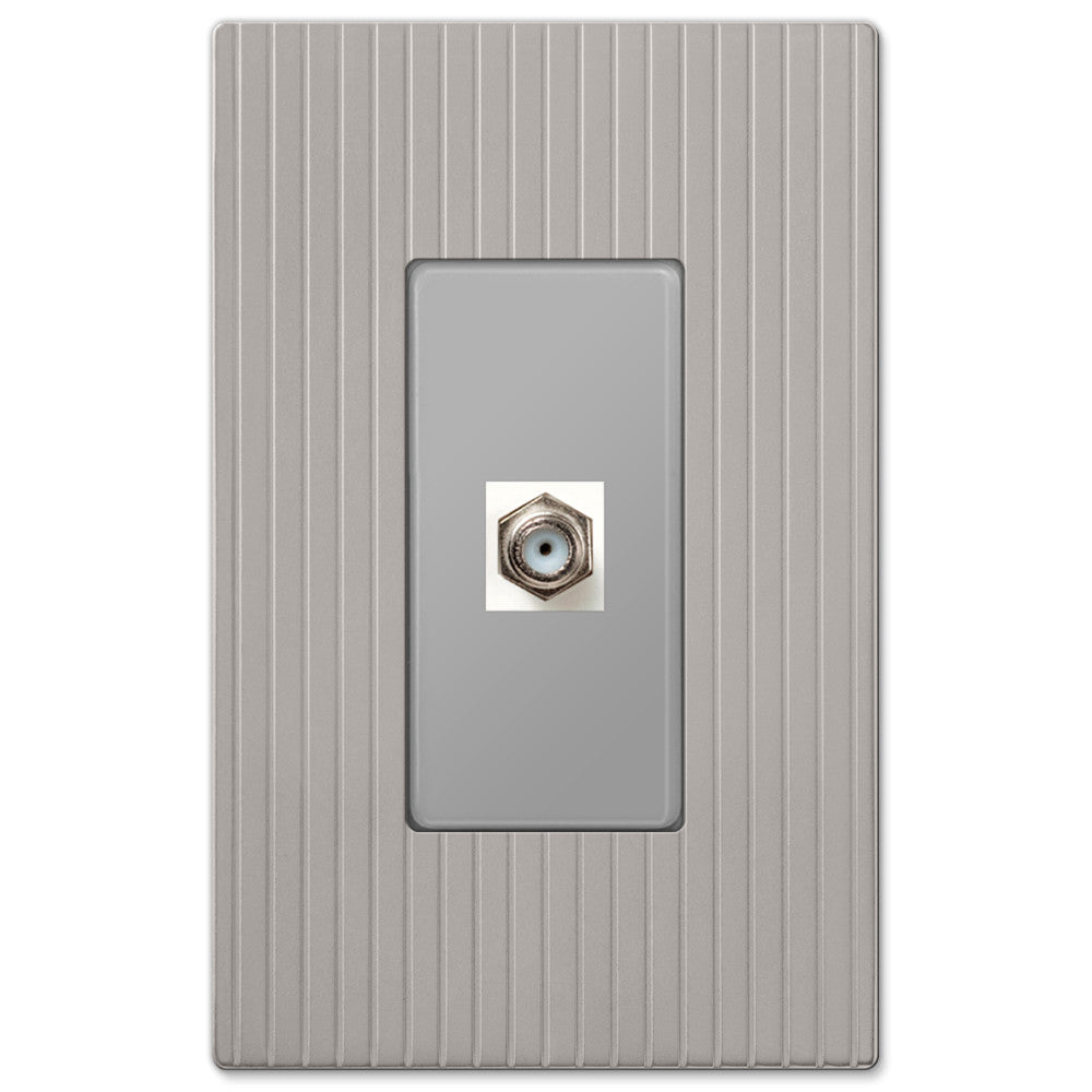 Mies Screwless Satin Nickel Cast - 1 Cable Jack Wallplate - Wallplate Warehouse