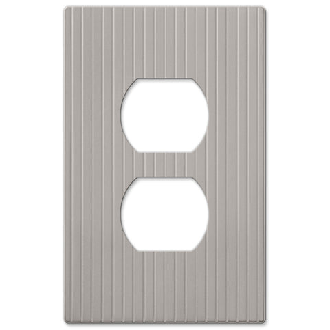 Mies Screwless Satin Nickel Cast - 1 Duplex Outlet Wallplate - Wallplate Warehouse