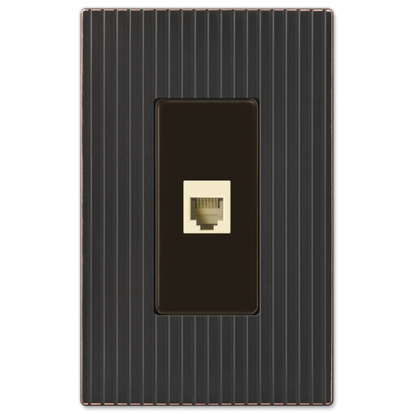 Mies Screwless Aged Bronze Cast - 1 Phone Jack Wallplate - Wallplate Warehouse