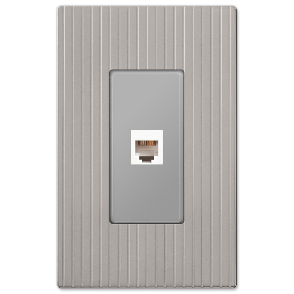 Mies Screwless Satin Nickel Cast - 1 Phone Jack Wallplate - Wallplate Warehouse