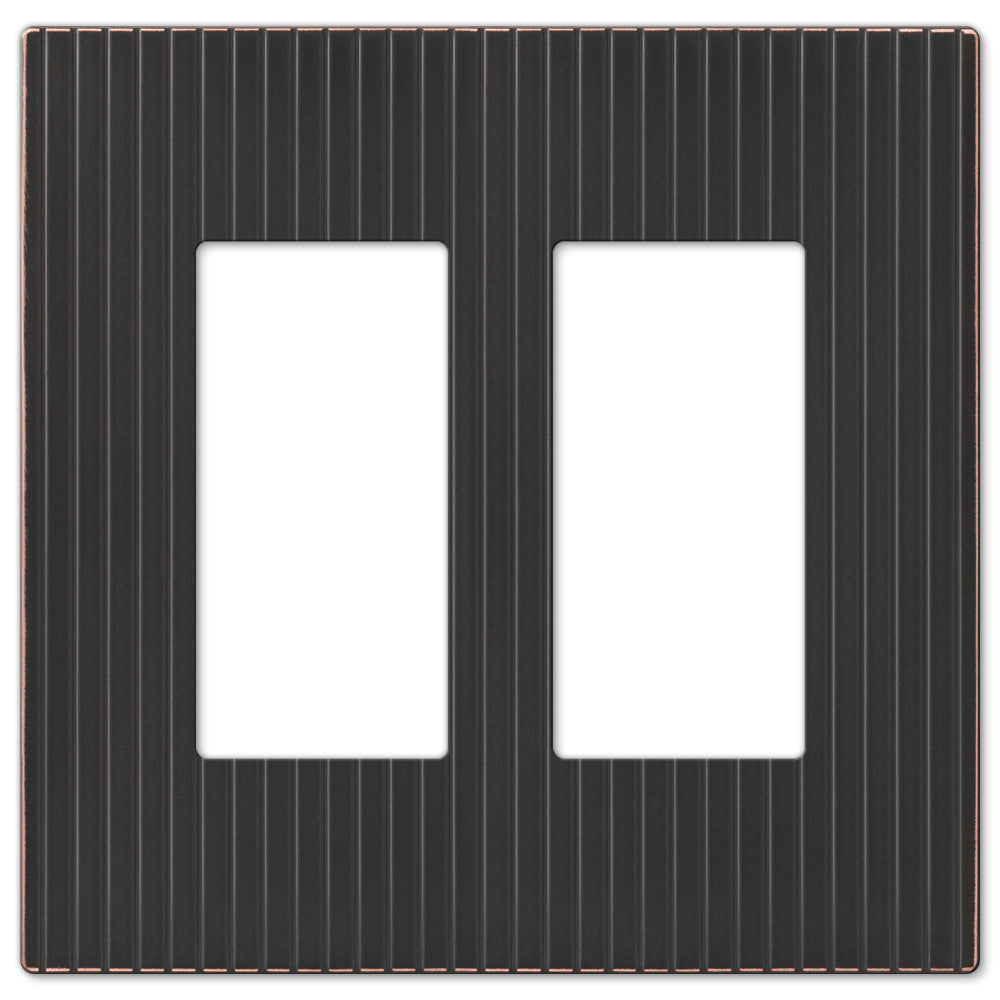 Mies Screwless Aged Bronze Cast - 2 Rocker Wallplate - Wallplate Warehouse