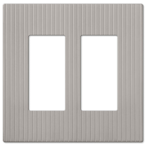 Mies Screwless Satin Nickel Cast - 2 Rocker Wallplate - Wallplate Warehouse