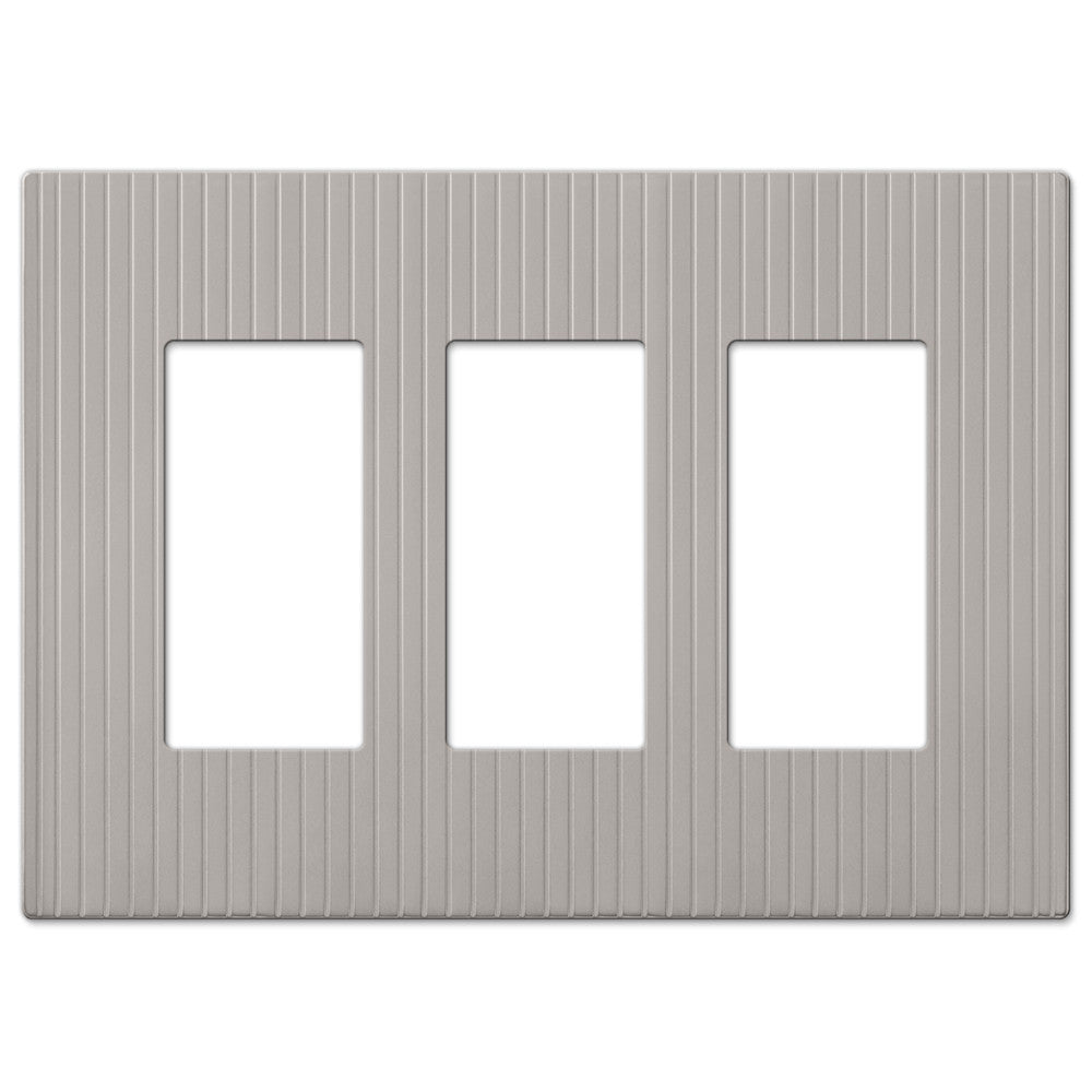 Mies Screwless Satin Nickel Cast - 3 Rocker Wallplate - Wallplate Warehouse