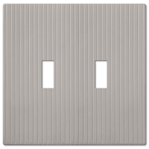 Mies Screwless Satin Nickel Cast - 2 Toggle Wallplate - Wallplate Warehouse