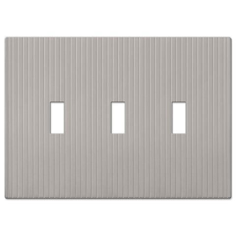Mies Screwless Satin Nickel Cast - 3 Toggle Wallplate - Wallplate Warehouse