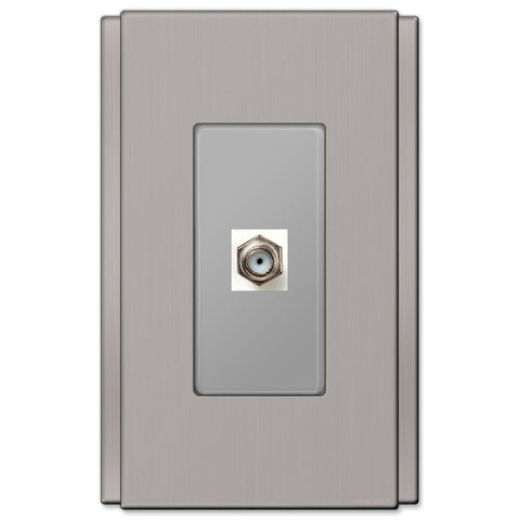 Zen Screwless Brushed Nickel Cast - 1 Cable Jack Wallplate - Wallplate Warehouse