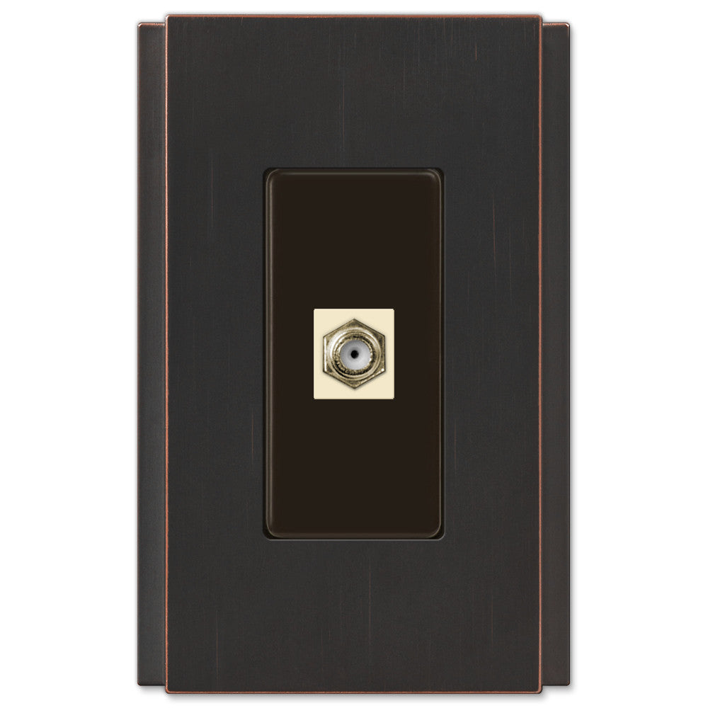 Zen Screwless Aged Bronze Cast - 1 Cable Jack Wallplate - Wallplate Warehouse