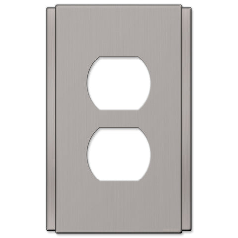 Zen Screwless Brushed Nickel Cast - 1 Duplex Outlet Wallplate - Wallplate Warehouse