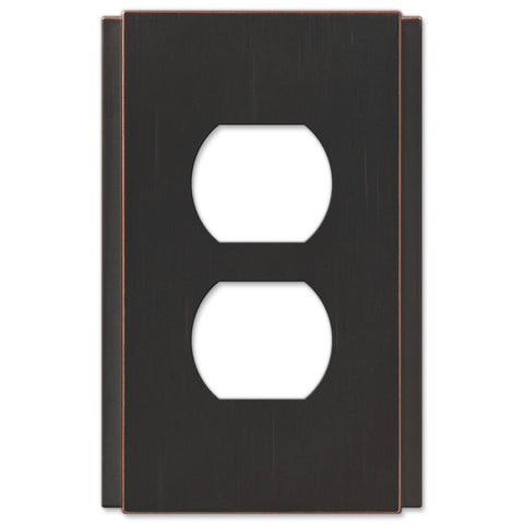Zen Screwless Aged Bronze Cast - 1 Duplex Outlet Wallplate - Wallplate Warehouse