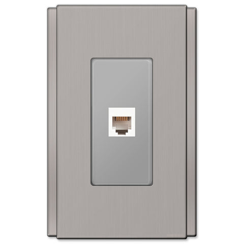 Zen Screwless Brushed Nickel Cast - 1 Phone Jack Wallplate - Wallplate Warehouse