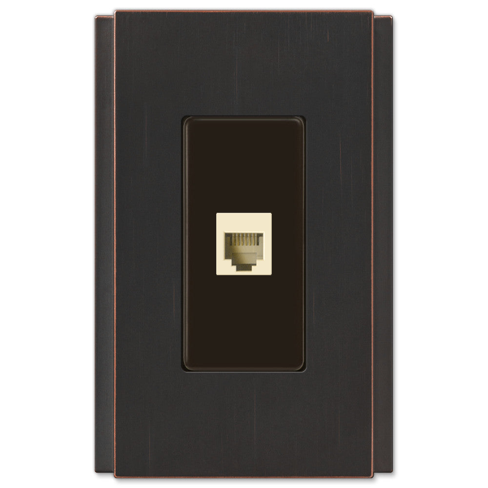 Zen Screwless Aged Bronze Cast - 1 Phone Jack Wallplate - Wallplate Warehouse