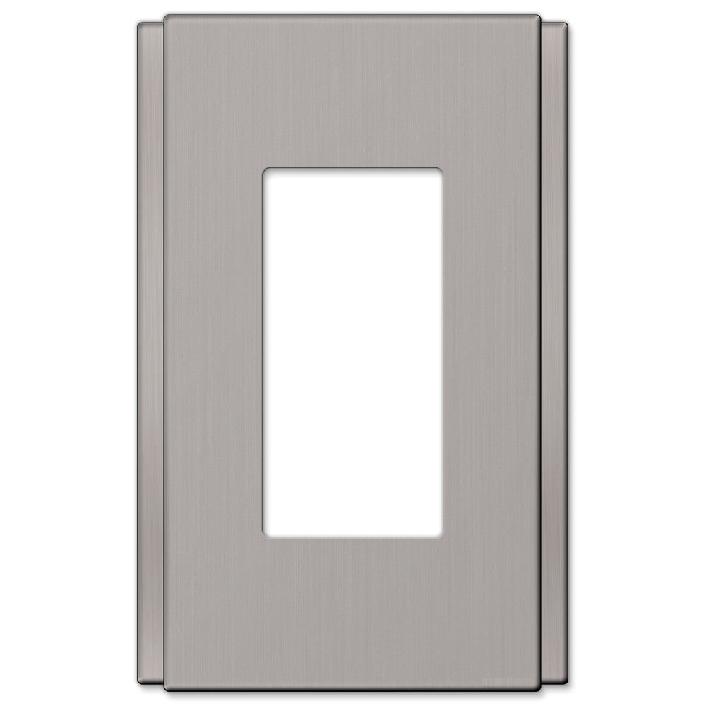 Zen Screwless Brushed Nickel Cast - 1 Rocker Wallplate - Wallplate Warehouse