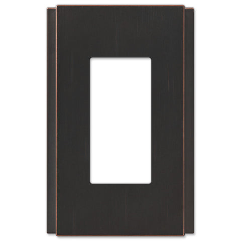 Zen Screwless Aged Bronze Cast - 1 Rocker Wallplate - Wallplate Warehouse