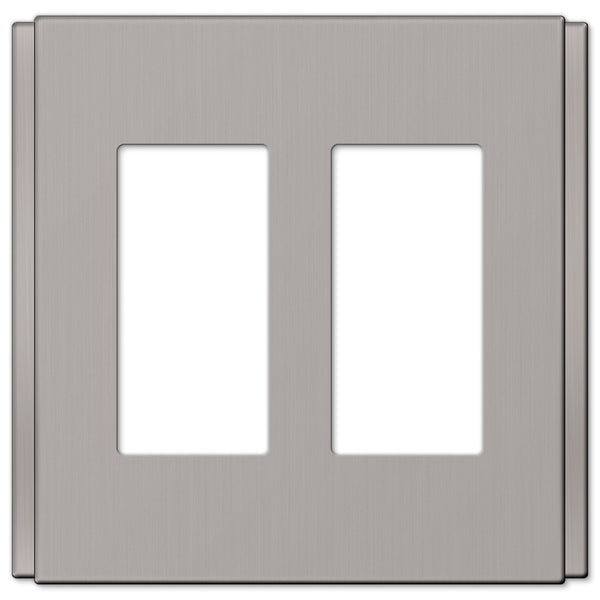 Zen Screwless Brushed Nickel Cast - 2 Rocker Wallplate - Wallplate Warehouse