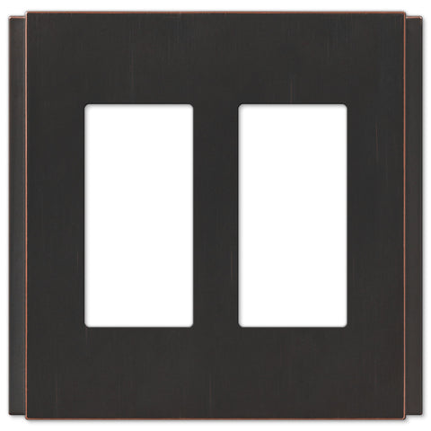 Zen Screwless Aged Bronze Cast - 2 Rocker Wallplate - Wallplate Warehouse