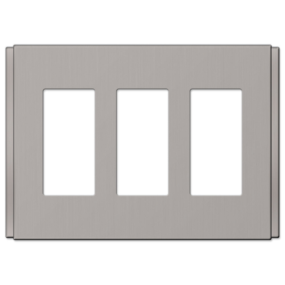 Zen Screwless Brushed Nickel Cast - 3 Rocker Wallplate - Wallplate Warehouse