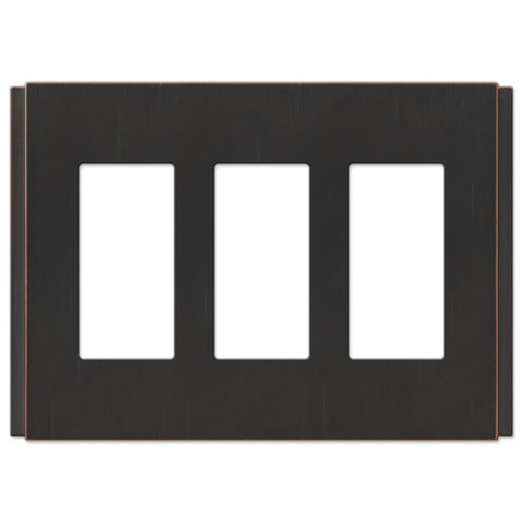 Zen Screwless Aged Bronze Cast - 3 Rocker Wallplate - Wallplate Warehouse