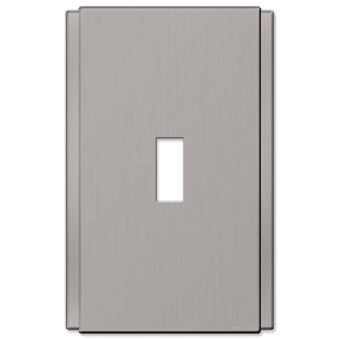 Zen Screwless Brushed Nickel Cast - 1 Toggle Wallplate - Wallplate Warehouse