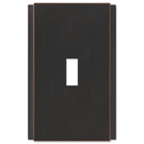 Zen Screwless Aged Bronze Cast - 1 Toggle Wallplate - Wallplate Warehouse