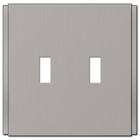 Zen Screwless Brushed Nickel Cast - 2 Toggle Wallplate - Wallplate Warehouse