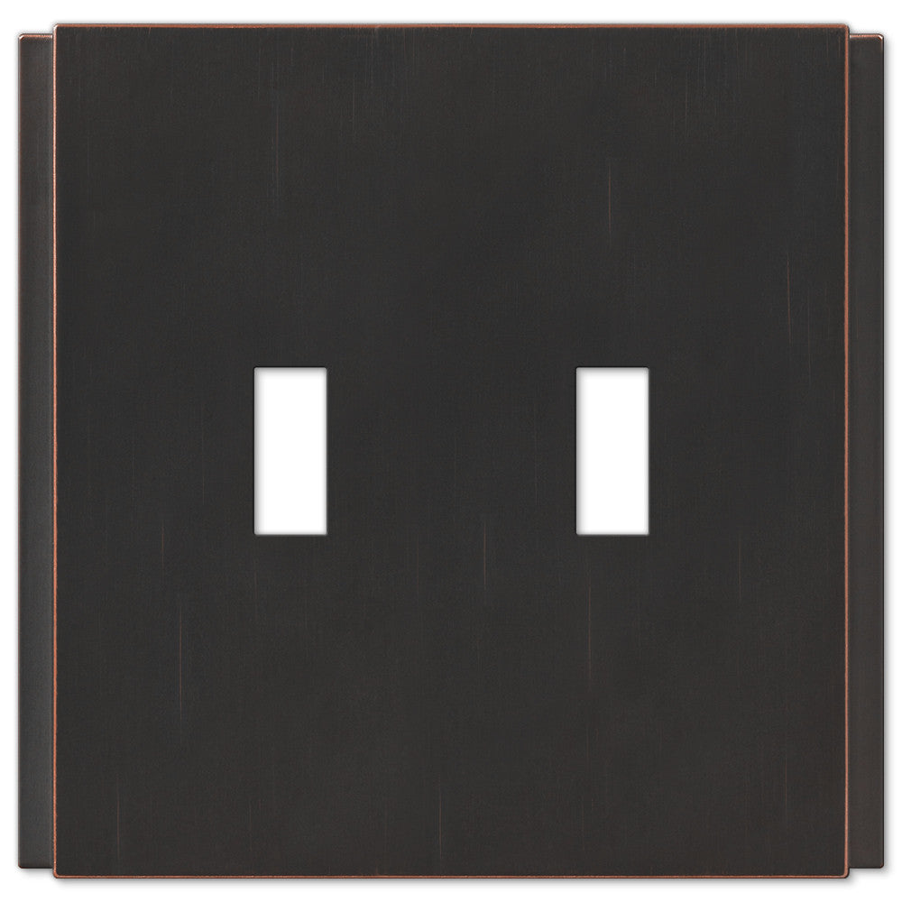 Zen Screwless Aged Bronze Cast - 2 Toggle Wallplate - Wallplate Warehouse