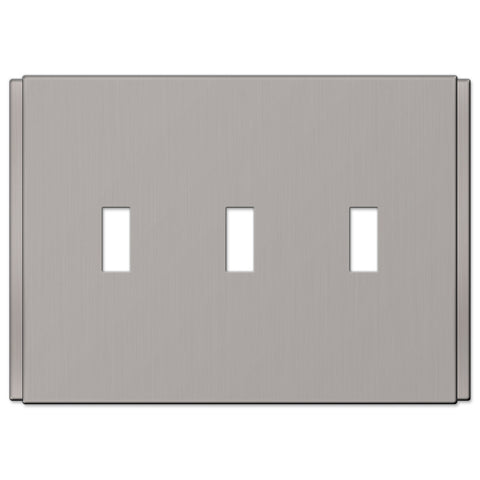 Zen Screwless Brushed Nickel Cast - 3 Toggle Wallplate - Wallplate Warehouse
