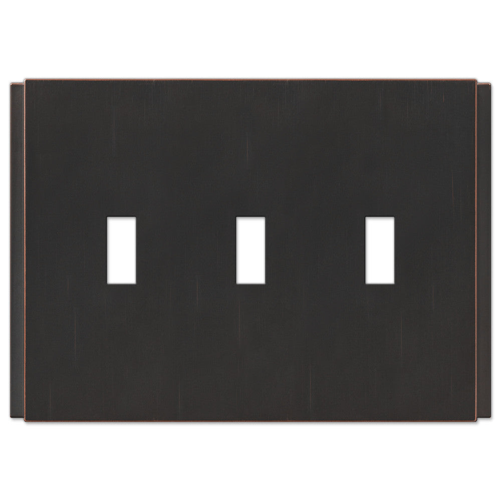 Zen Screwless Aged Bronze Cast - 3 Toggle Wallplate - Wallplate Warehouse