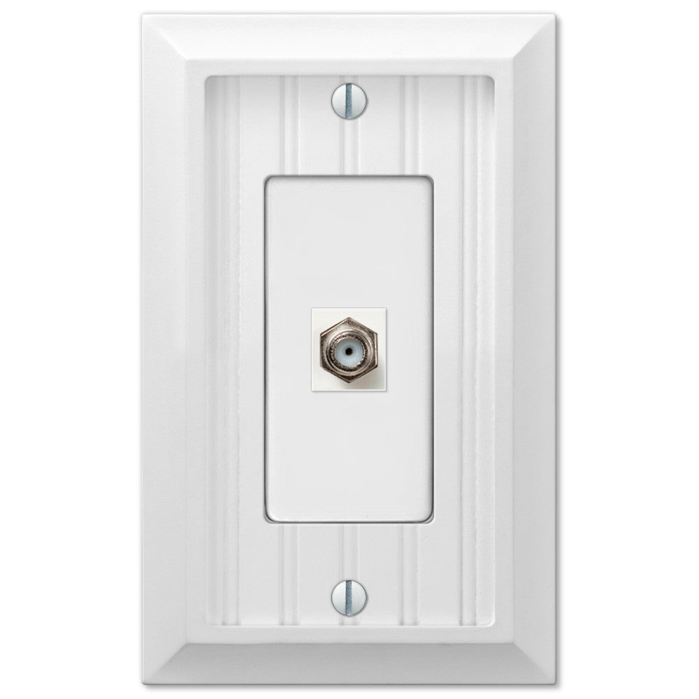 Cottage White Wood - 1 Cable Jack Wallplate - Wallplate Warehouse