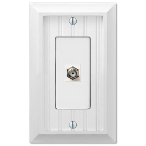 cottage white wood 1 cable jack wallplate wallplate warehouse