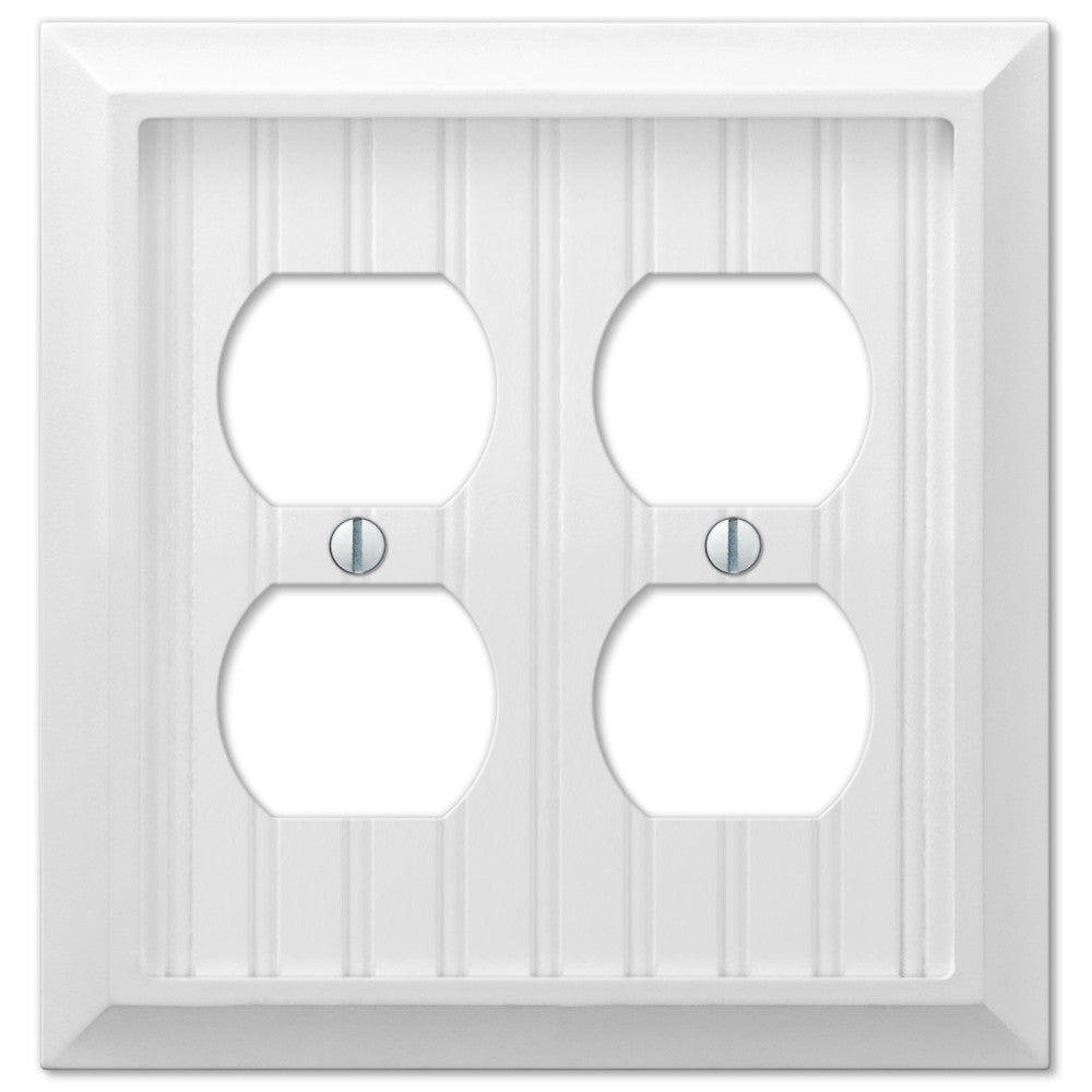 Cottage White Wood - 2 Duplex Outlet Wallplate - Wallplate Warehouse