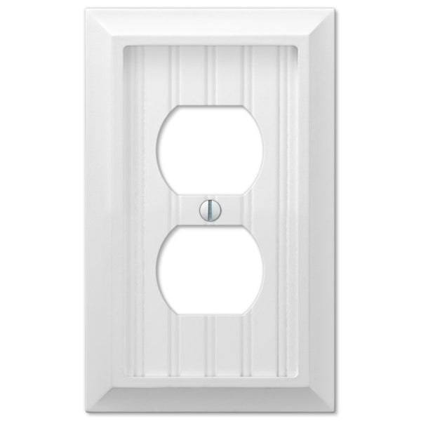 Cottage White Wood - 1 Duplex Outlet Wallplate - Wallplate Warehouse