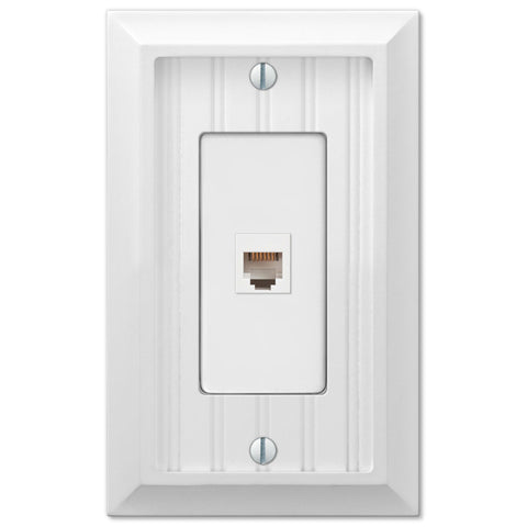 Cottage White Wood - 1 Phone Jack Wallplate - Wallplate Warehouse