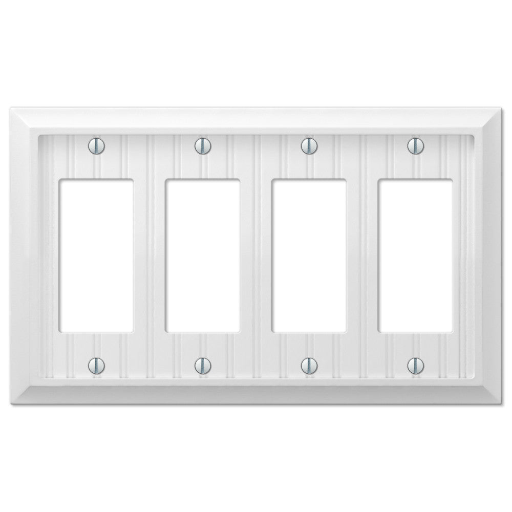 Cottage White Wood - 4 Rocker Wallplate - Wallplate Warehouse