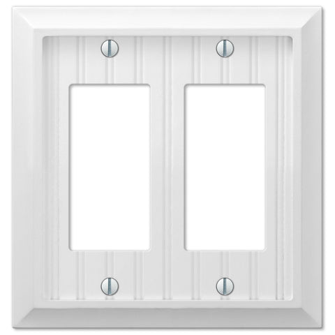 Cottage White Wood - 2 Rocker Wallplate - Wallplate Warehouse
