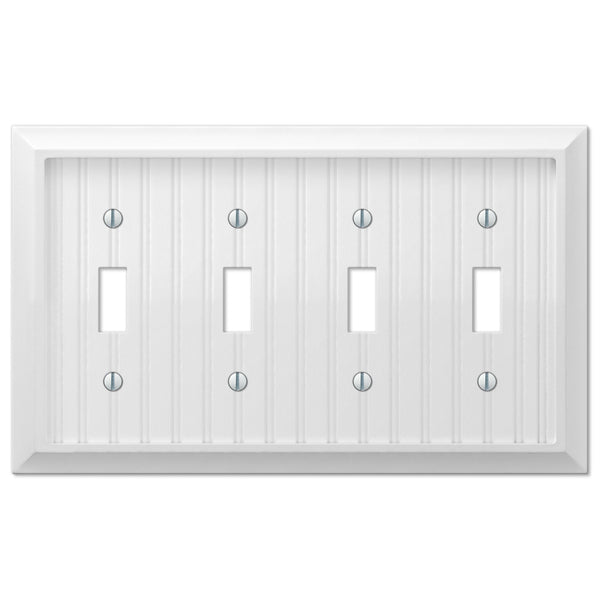 Cottage White Wood - 4 Toggle Wallplate - Wallplate Warehouse