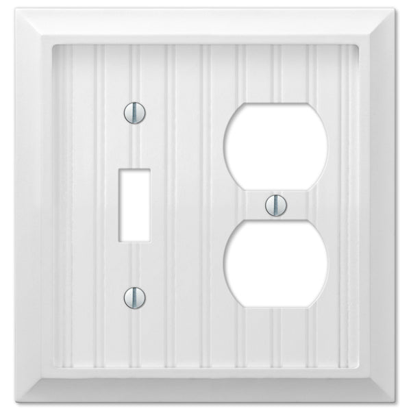 Cottage White Wood - 1 Toggle / 1 Duplex Outlet Wallplate - Wallplate Warehouse