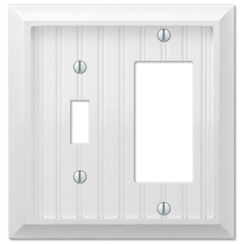 Cottage White Wood - 1 Toggle / 1 Rocker Wallplate - Wallplate Warehouse