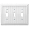 Cottage White Wood - 3 Toggle Wallplate - Wallplate Warehouse