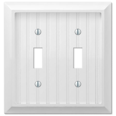 Cottage White Wood - 2 Toggle Wallplate - Wallplate Warehouse