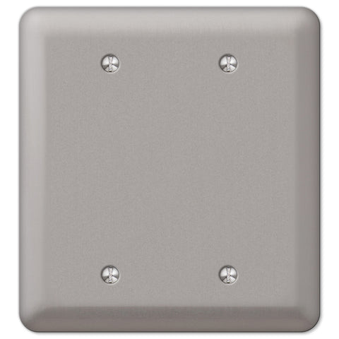 Devon Brushed Nickel Steel - 2 Blank Wallplate - Wallplate Warehouse