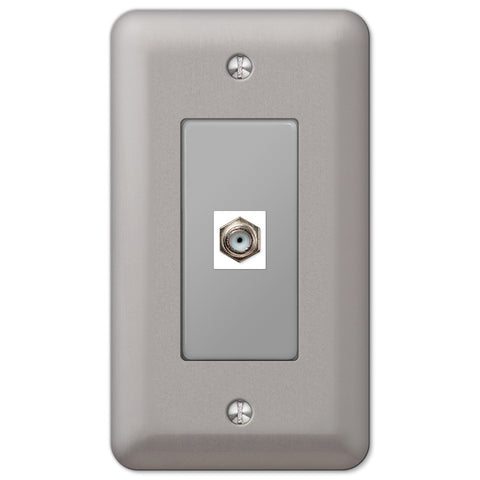 Devon Brushed Nickel Steel - 1 Cable Jack Wallplate - Wallplate Warehouse