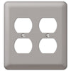 Devon Brushed Nickel Steel - 2 Duplex Outlet Wallplate - Wallplate Warehouse