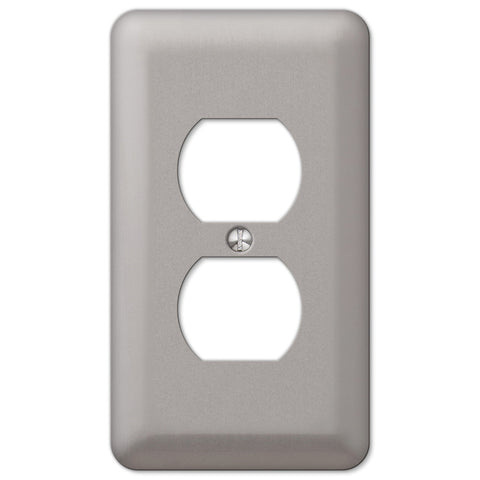 Devon Brushed Nickel Steel - 1 Duplex Outlet Wallplate - Wallplate Warehouse
