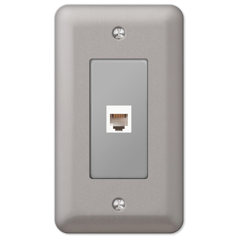 Devon Brushed Nickel Steel - 1 Phone Jack Wallplate - Wallplate Warehouse