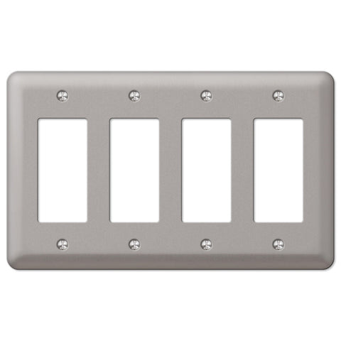 Devon Brushed Nickel Steel - 4 Rocker Wallplate - Wallplate Warehouse