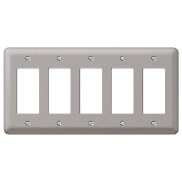 Devon Brushed Nickel Steel - 5 Rocker Wallplate - Wallplate Warehouse