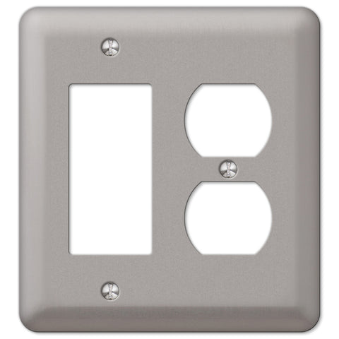 Devon Brushed Nickel Steel - 1 Rocker / 1 Duplex Outlet Wallplate - Wallplate Warehouse