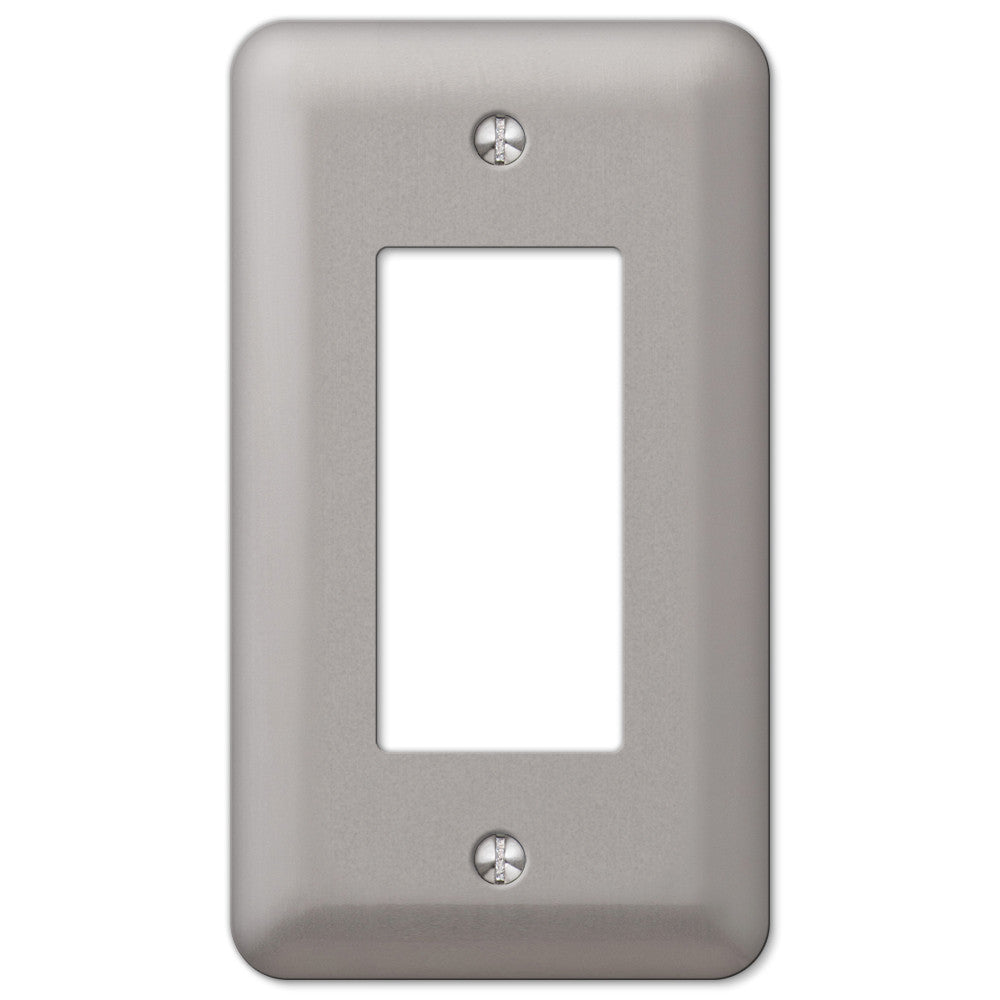 Devon Brushed Nickel Steel - 1 Rocker Wallplate - Wallplate Warehouse